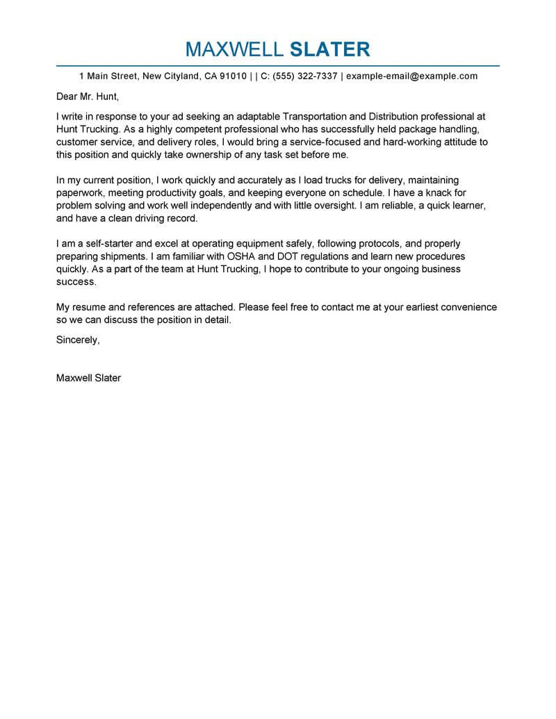 Best Transportation Cover Letter Examples  LiveCareer