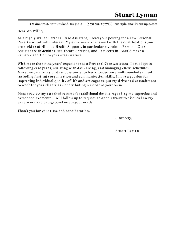 Best Personal Care Assistant Cover Letter Examples