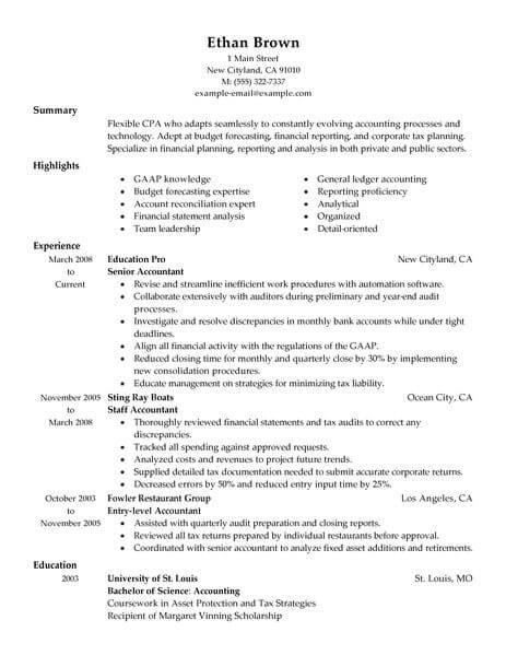 Best Accountant Resume Example Livecareer