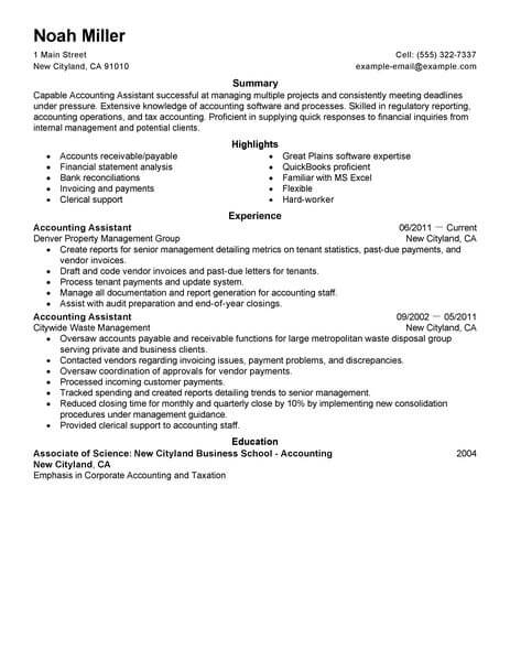 resume sample of accounting assistant