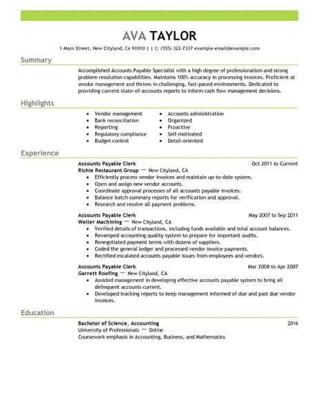 accounts payable experience resume sample