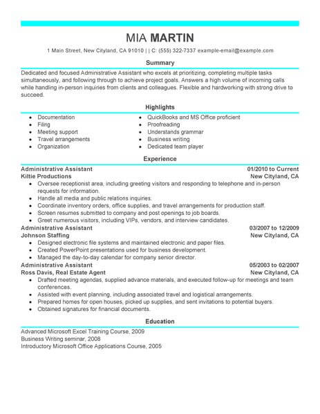 resume samples administrative assistants