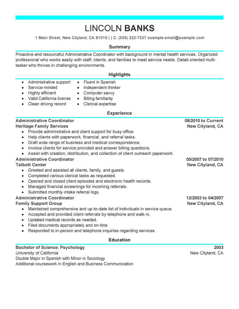 Administrative Coordinator Resume Example