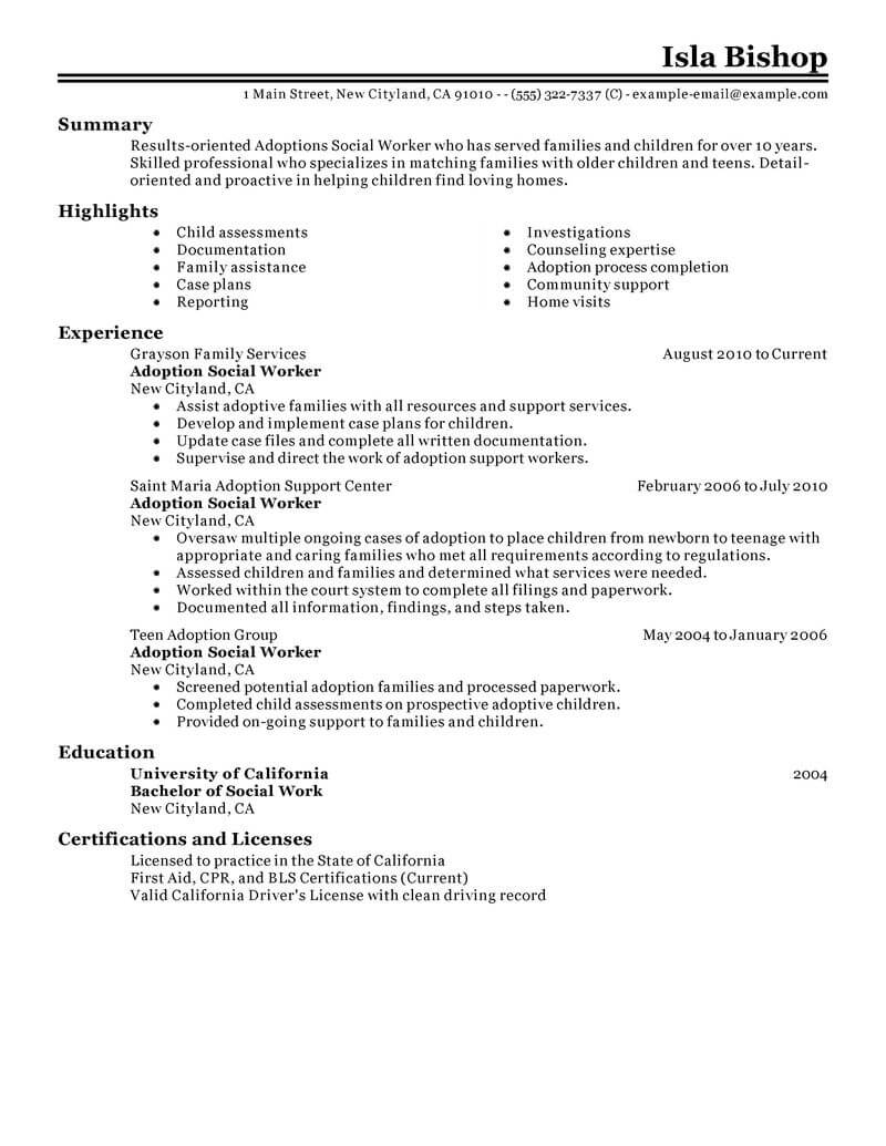 Best Adoptions Social Worker Resume Example | LiveCareer