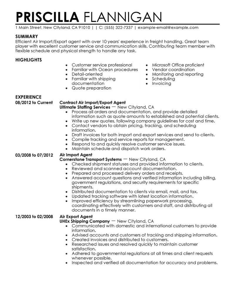 sample resume for lcl import customer service