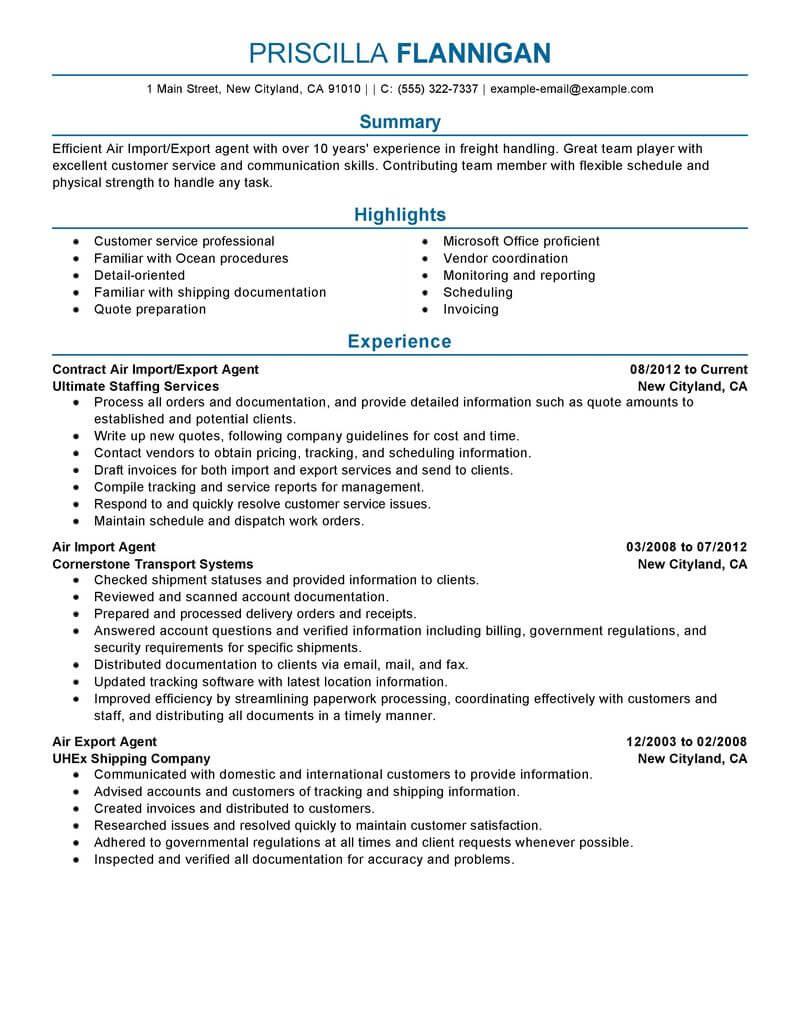 example of cargo agent resume