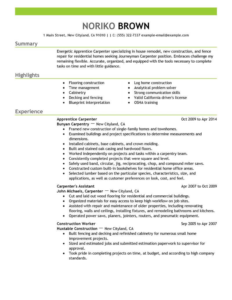 Apprentice Carpenter Resume Sample | Carpenter Resumes | LiveCareer