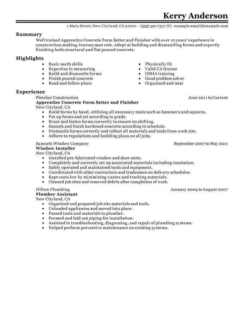 Best Apprentice Concrete Form Setter And Finisher Resume