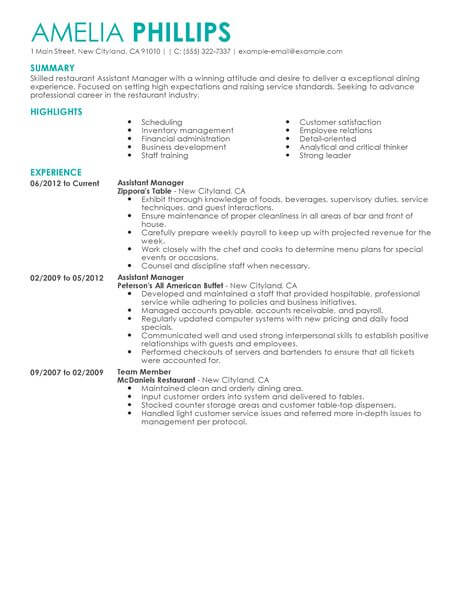 best restaurant assistant manager resume example