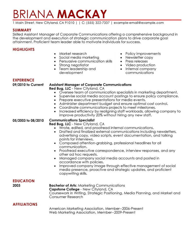 managerial experience resume sample