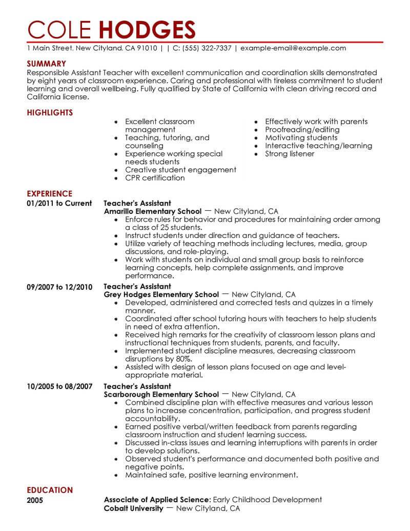 assistant teacher resume sample