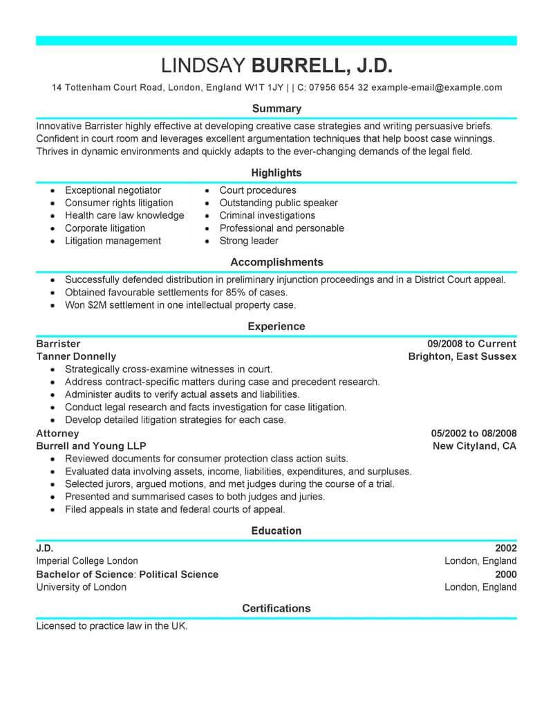 experienced attorney resume example
