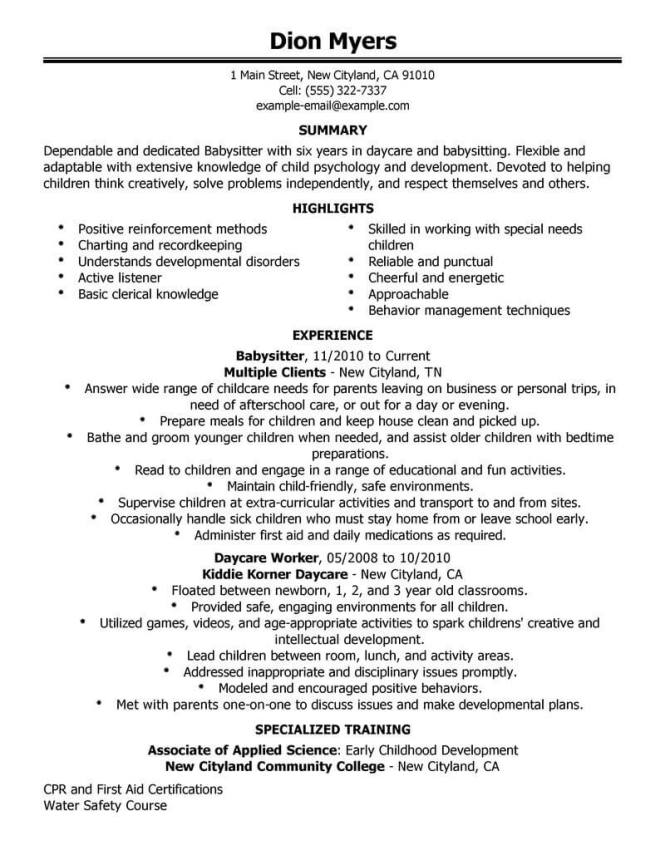 Resume For Babysitter Example Resumes Nanny Resume Example