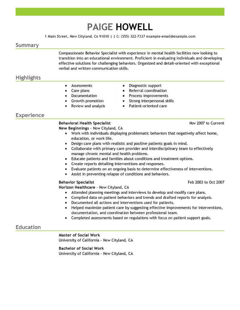 resume career objective social worker