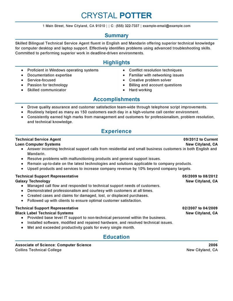 Best Bilingual Technical Service Agent Resume Example