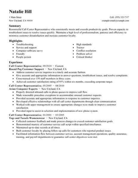 Simple Call Center Representative Resume Example LiveCareer