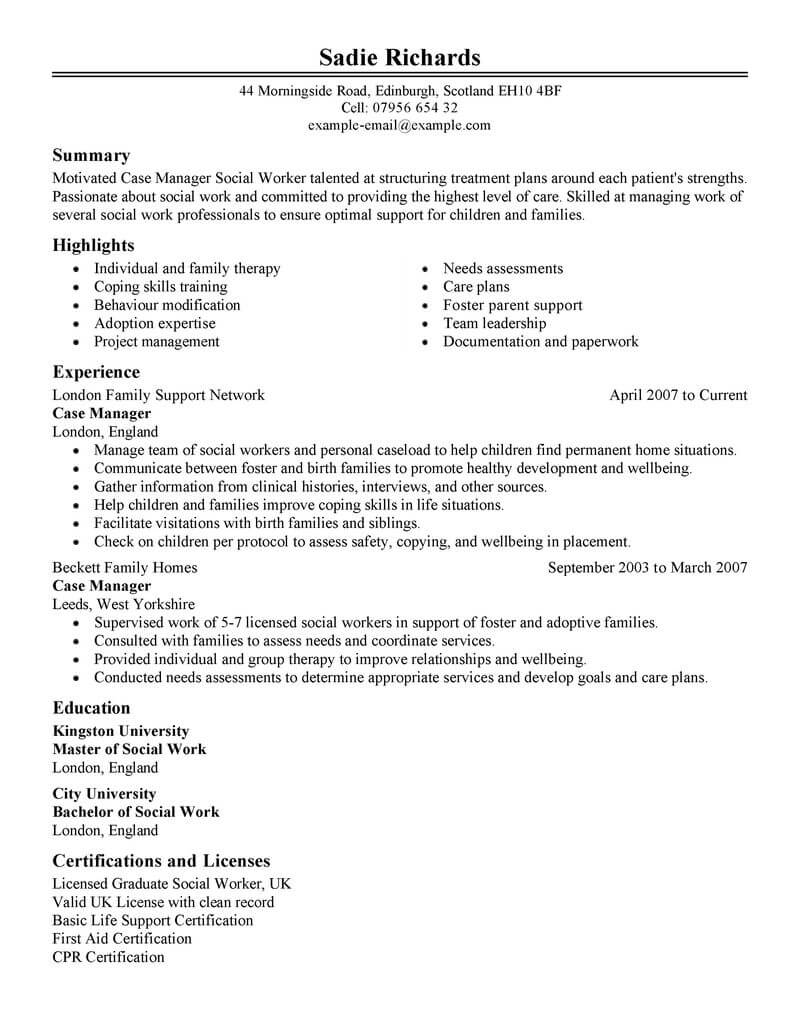 social services program manager resume sample