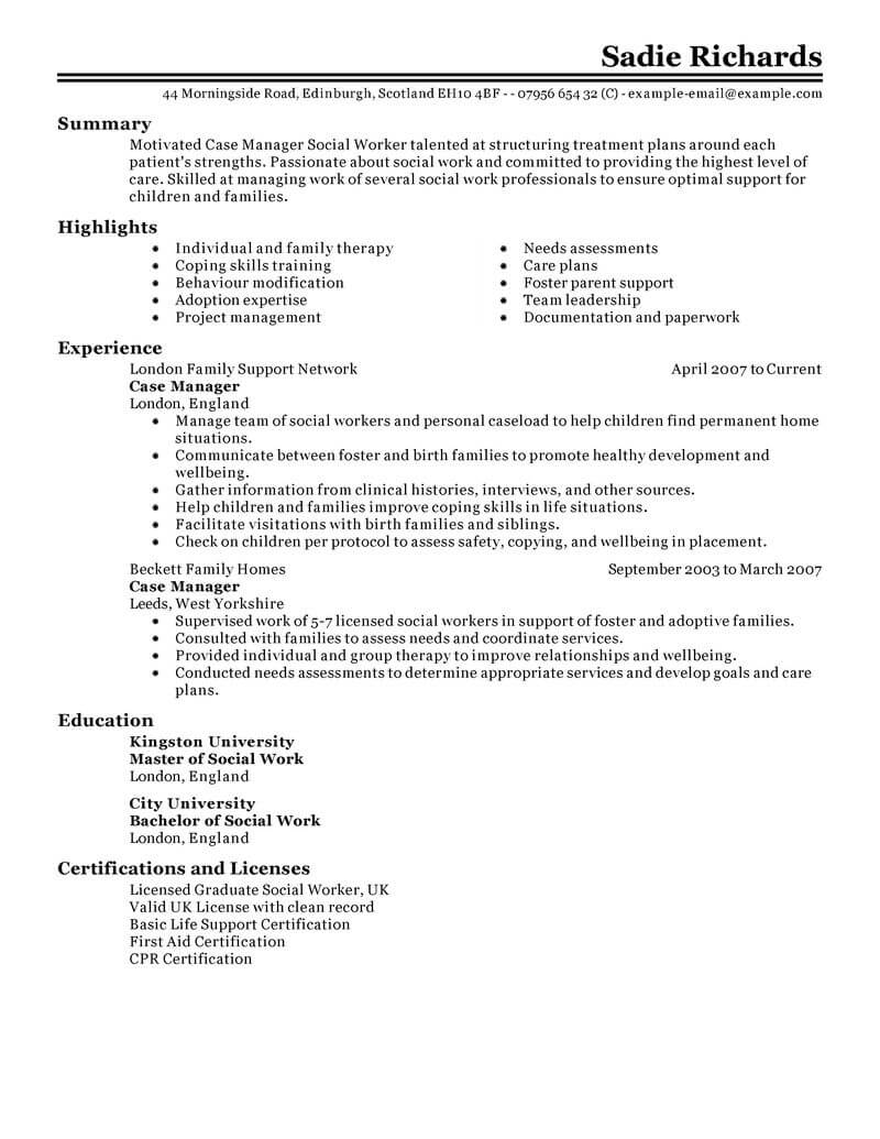 case manager resume summary examples