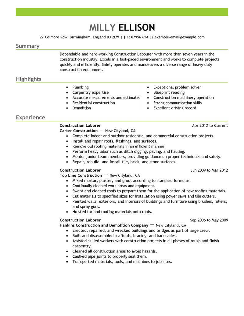 sample resume for laborer with experience