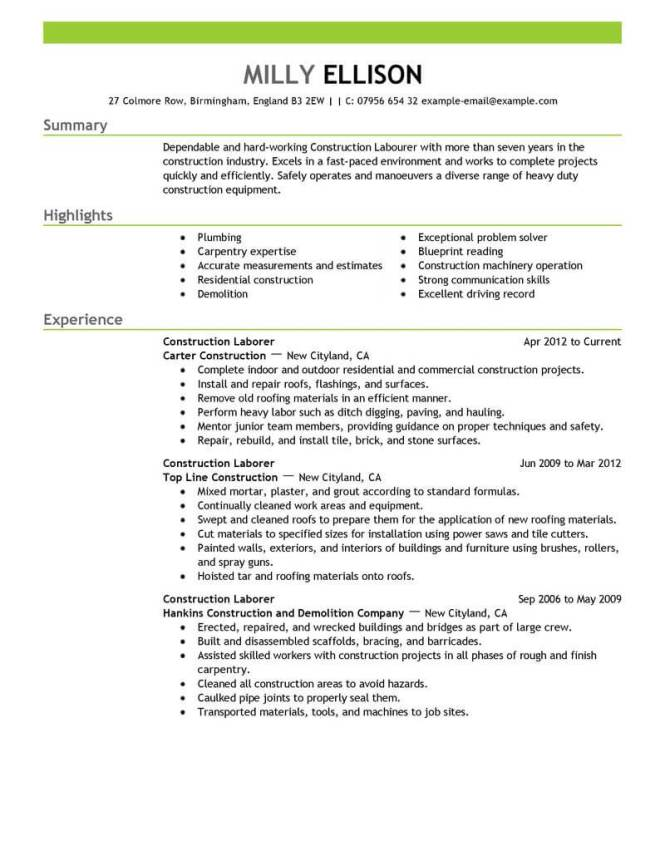 best construction labor resume example livecareer - Laborer Resume Examples
