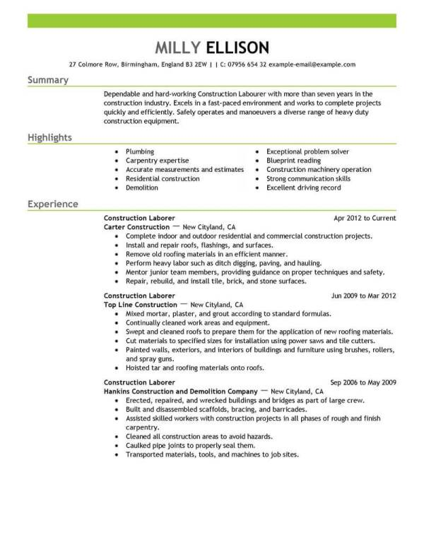 Job Resume Templates Construction Job Resume Sample Pg1