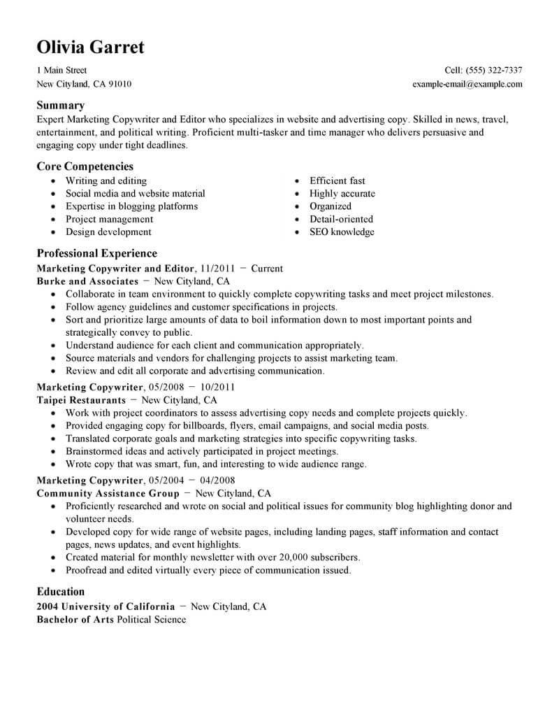 online resume websites examples