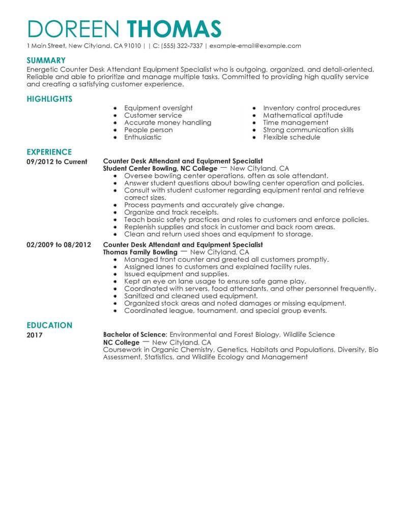 Best Counter Desk Attendant Equipment Specialist Resume