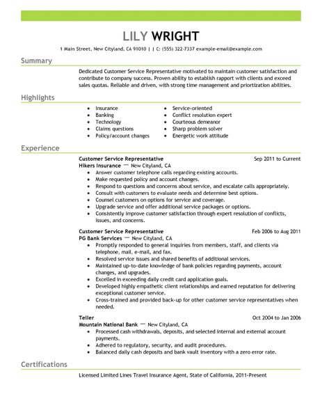 resume examples for customer service representatives