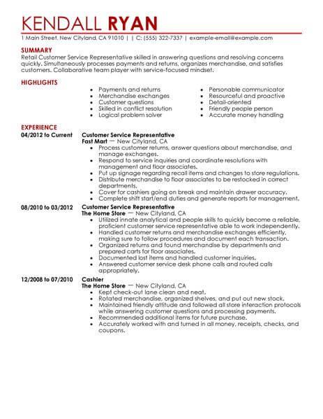 best retail customer service representative resume example - Customer Service Resume Template