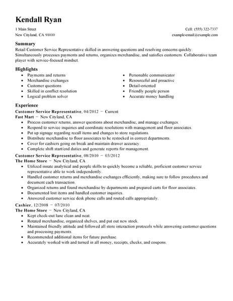retail customer service resume examples