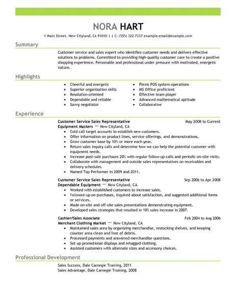 resume summary examples for customer service representative