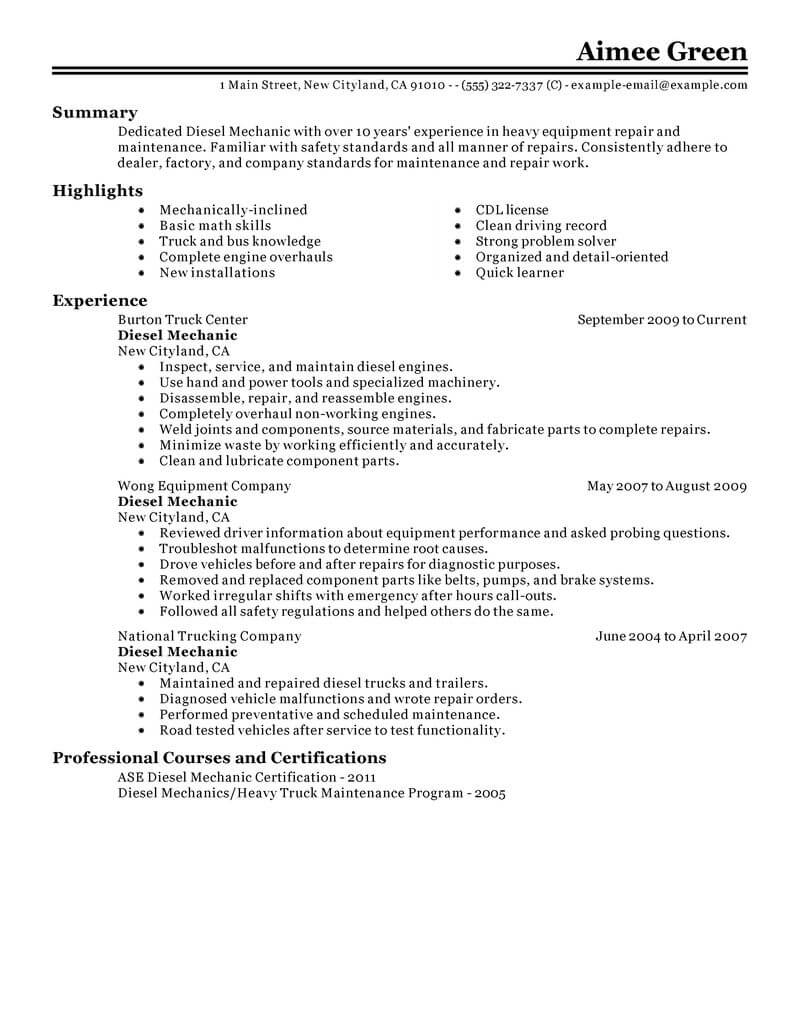 resume examples mechanic apprentice