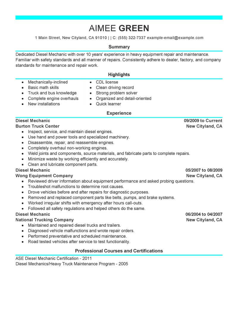 sample resume objectives for mechanic