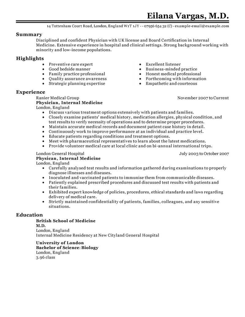 Example Of Medical Resume