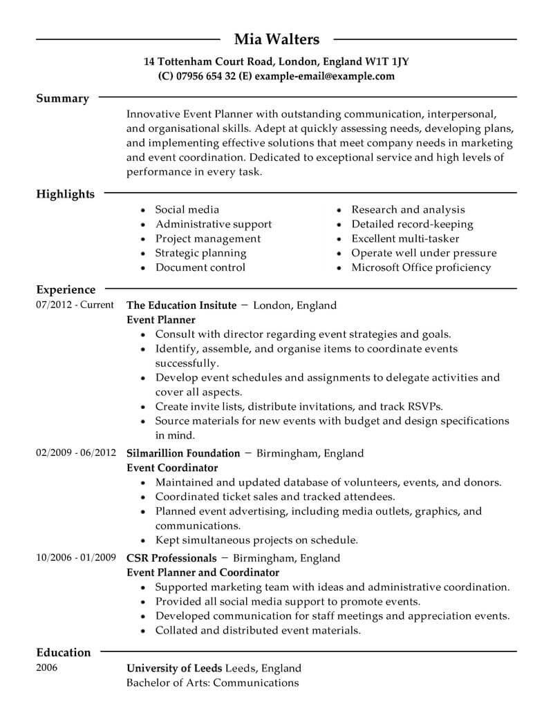 resume description for event planner