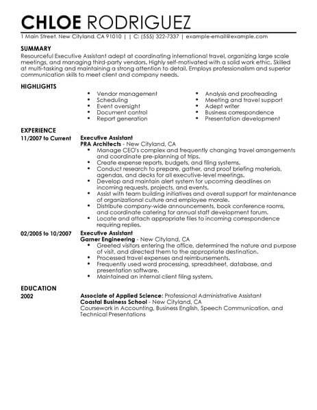 sample executive assitant resume
