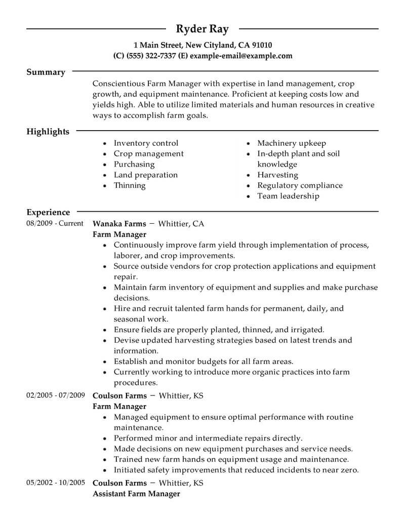 dairy farmer resume example