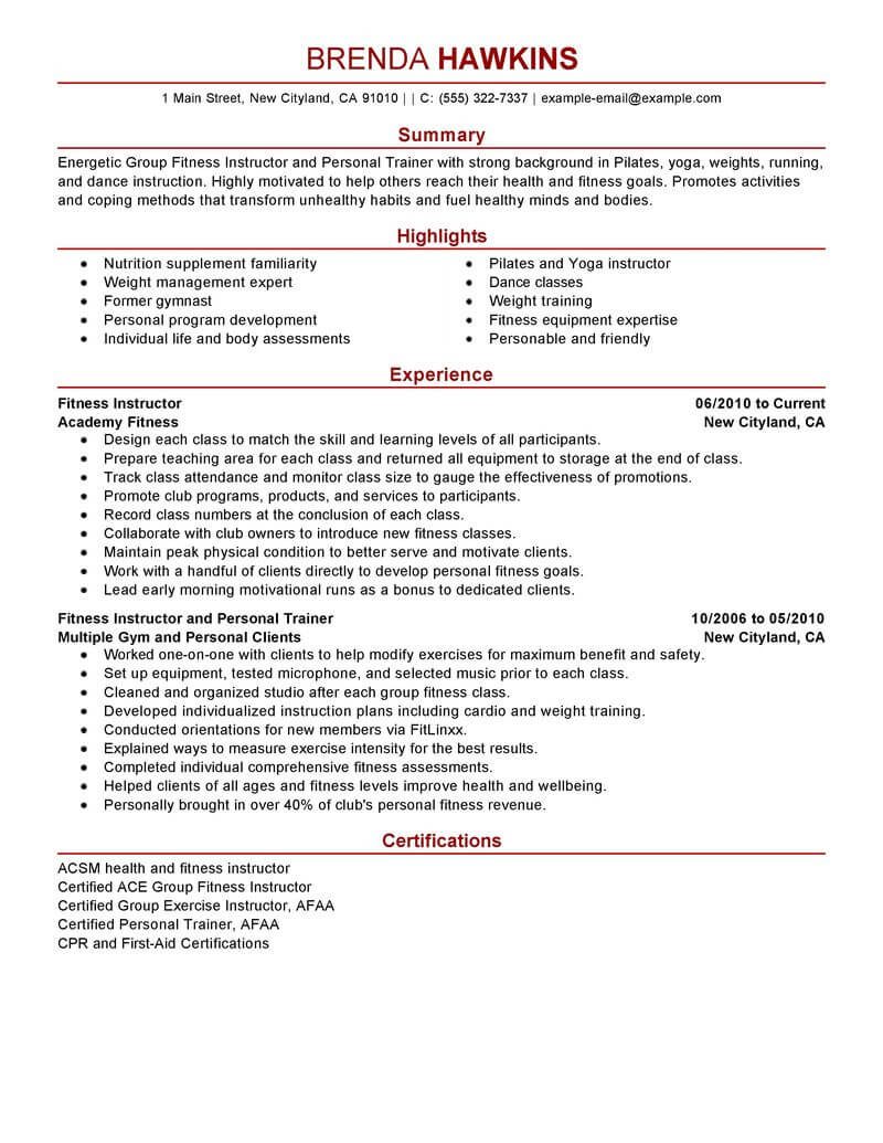 Fitness Instructor Resume Sample