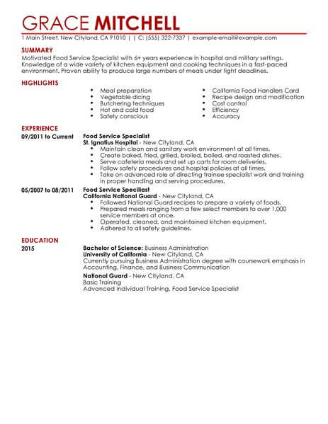 resume examples food service - April.onthemarch.co