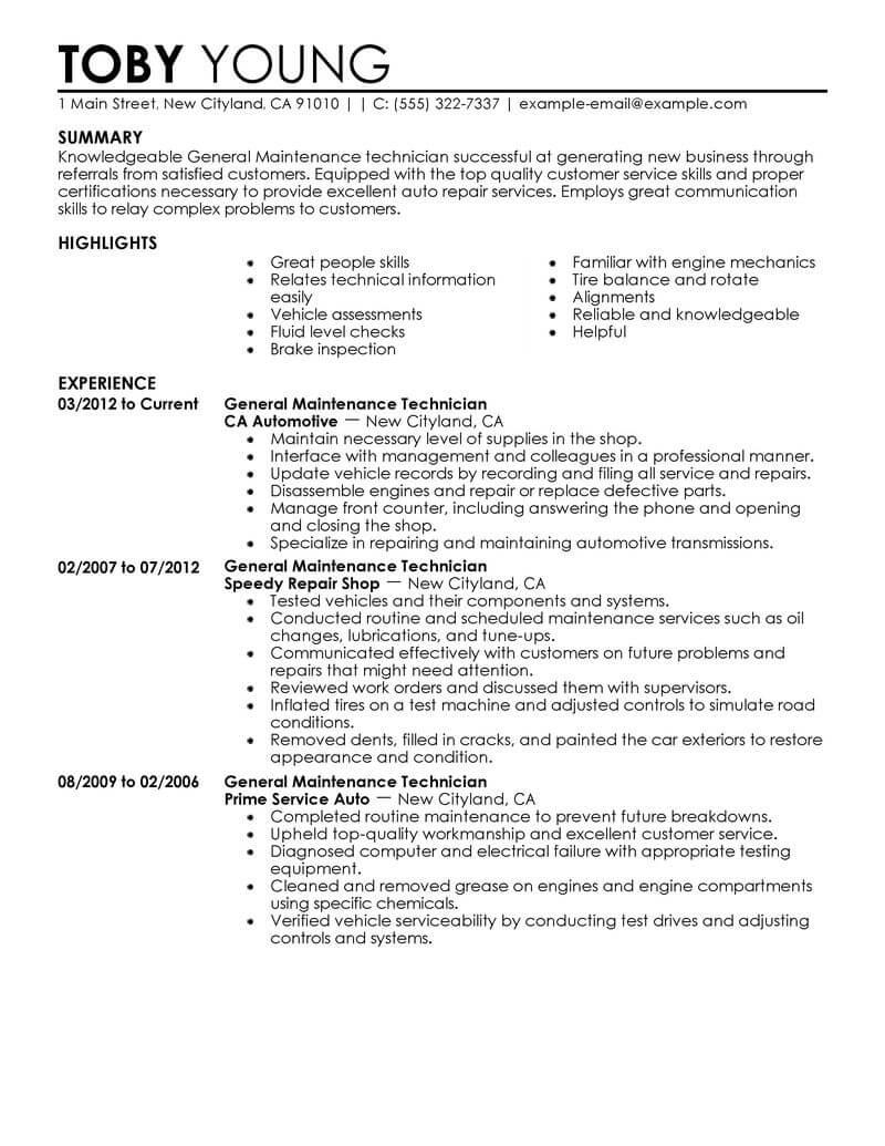 automotive service technician resume sample