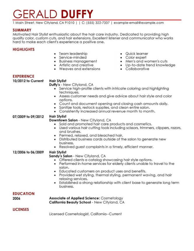 Hair Stylist Resume Examples  Resume Sample