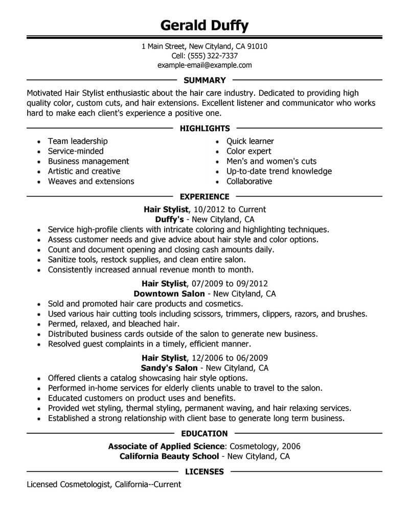 hair stylist manager resume sample