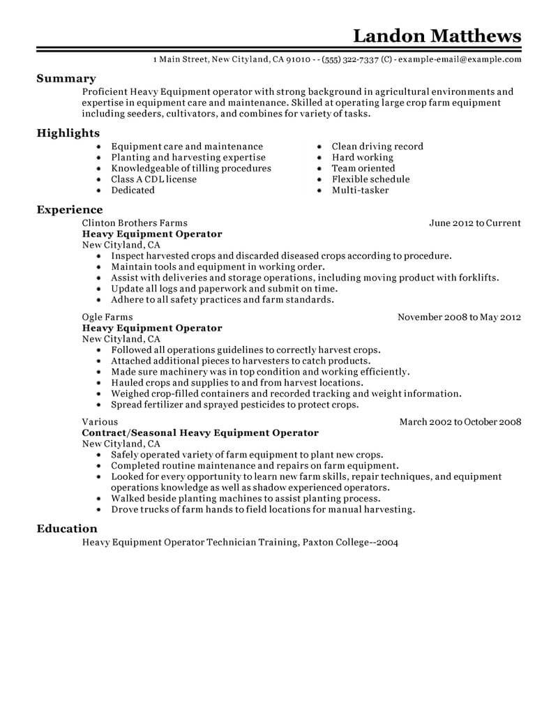 resume examples for water operators