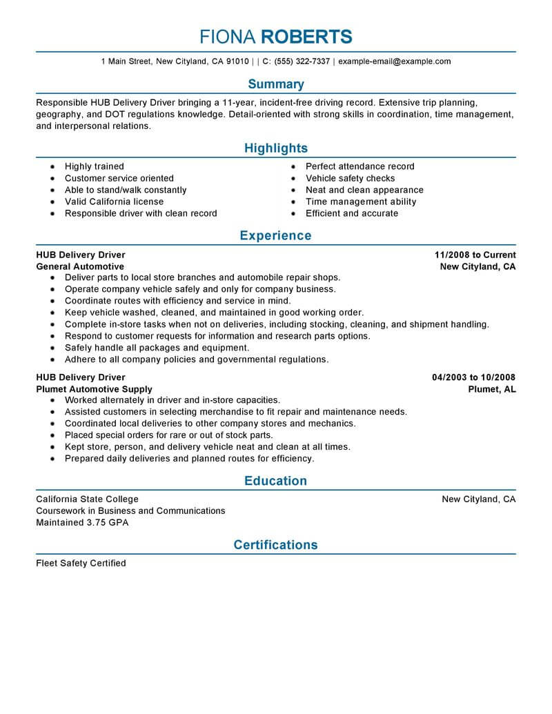 sample of delivery driver resume