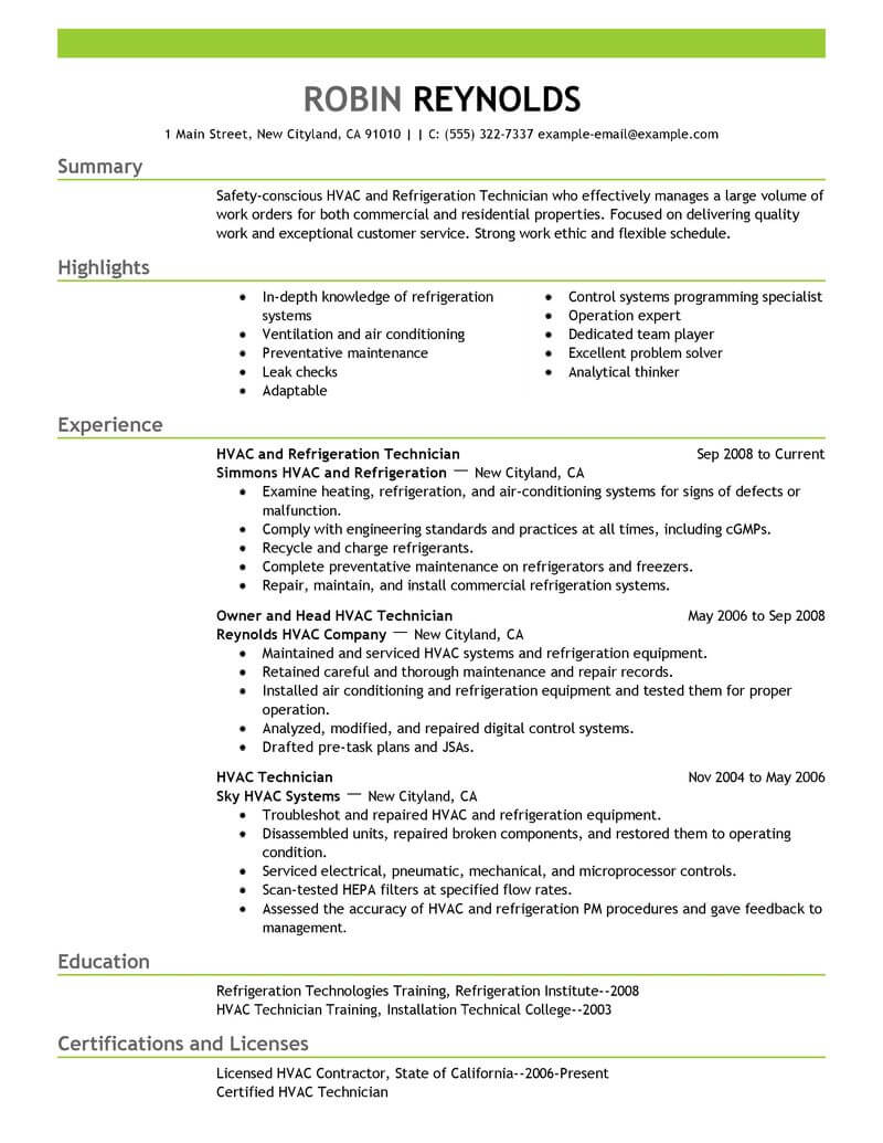 refrigeration technician resume template