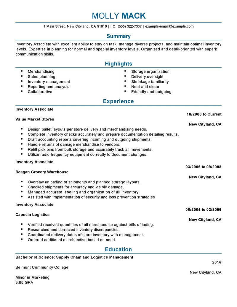 Inventory Associate Resume Warehouse Supervisor Job