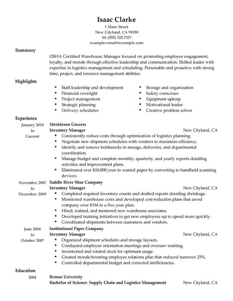 resume summary examples warehouse manager