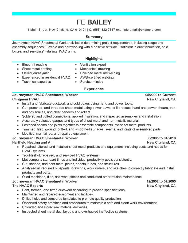 example of a cover sheet for resume hvac resume