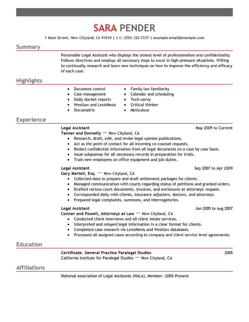 resume samples of legal assistants