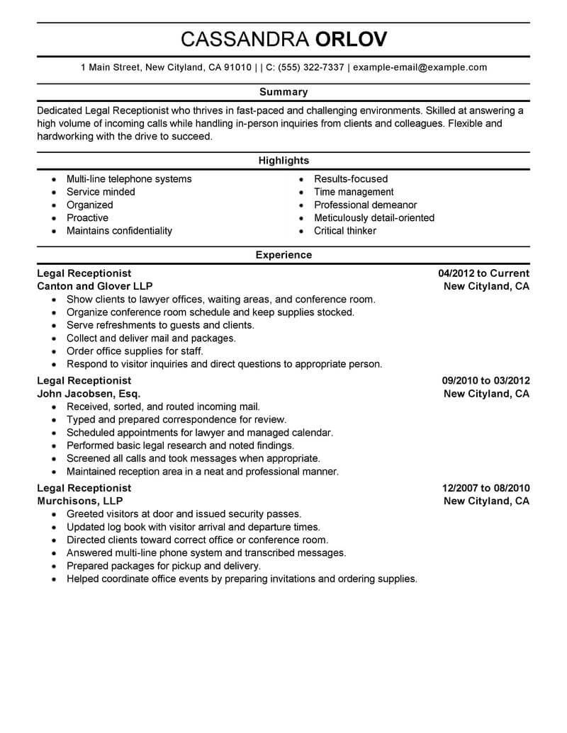 receptionist summary for resume